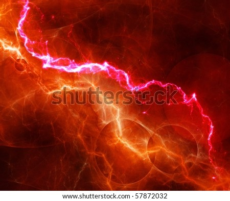 abstract red and orange lightning - stock photo