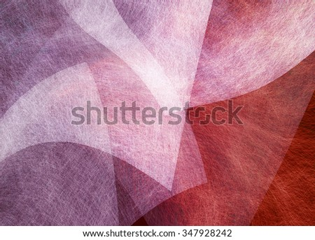 abstract red and white background with curves, waves and textured layers - stock photo