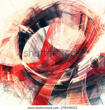 Abstract red and white motion composition. Modern bright futuristic dynamic background for wallpaper, poster, banner, booklet. Fractal art for creative graphic design - stock photo