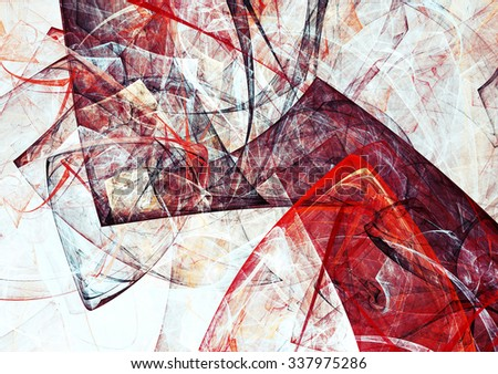 Abstract red and white triangle geometric composition. Modern bright futuristic dynamic background. Fractal art for creative graphic design. - stock photo