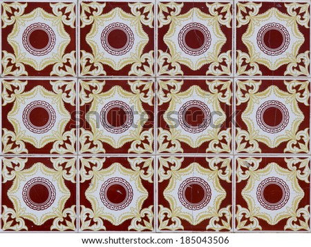 Abstract red and yellow background of azulejos - stock photo