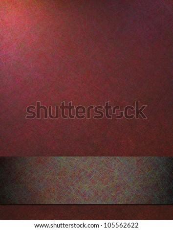 abstract red background, elegant old vintage grunge background texture design layout with soft corner lighting and dark burgundy ribbon stripe on bottom border or frame, for brochure or poster or web - stock photo