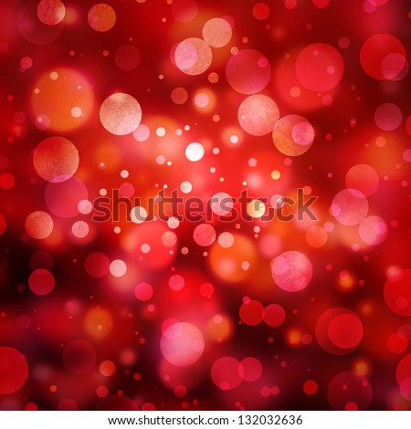 abstract red background glitter lights round shapes geometric circle background sparkling fantasy dream background bright white festive bubble Christmas background blur bokeh lights, shine texture - stock photo
