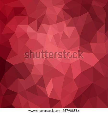 abstract red background, low poly textured triangle shapes in random pattern, trendy lowpoly background - stock photo