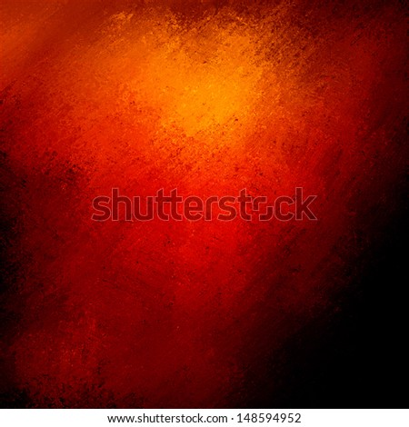 abstract red background warm elegant color, gold light vintage grunge background texture, black border, orange red website template background, orange halloween or autumn graphic art image, hot fiery - stock photo