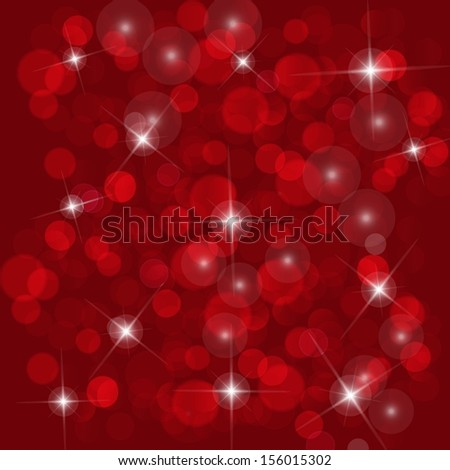 abstract red background with bright lights and stars