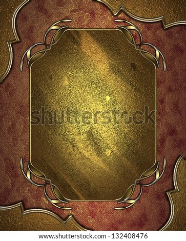 Abstract red background with gold corners with gold trim