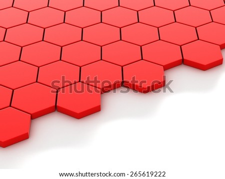 Abstract red background with hexagons and place 3D render