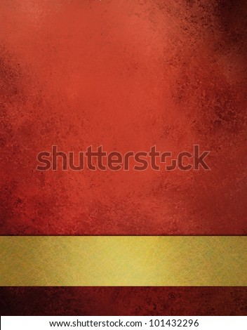 abstract red background with old black vintage grunge background texture, gold ribbon design on border, red paper or red wallpaper for Christmas background or web template background or book cover - stock photo
