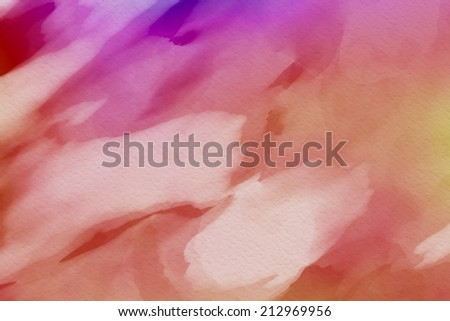 Abstract red background with watercolor paint imitation - stock photo