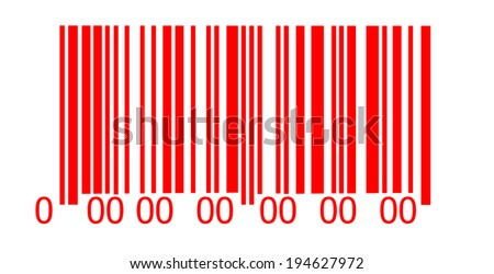 Abstract red barcode security pattern   on white background - stock photo