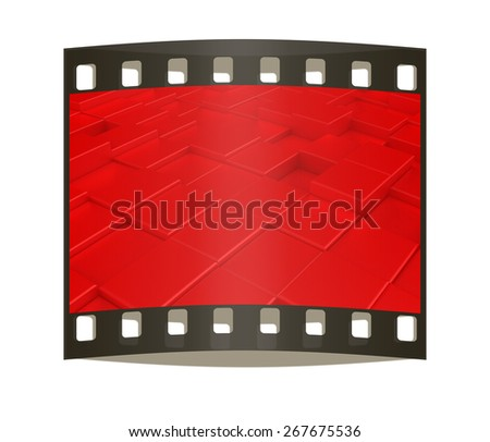 Abstract red carpeting urban background. The film strip - stock photo