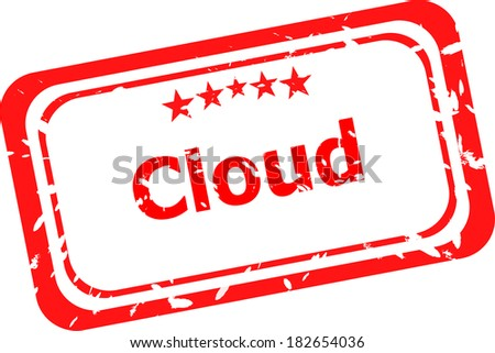 abstract red cloud on red stamp signs, web symbols and icons - stock photo