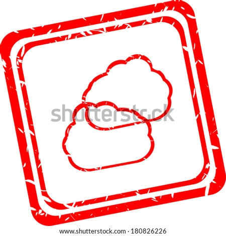 abstract red cloud signs, web symbols and icons - stock photo
