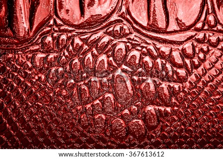 Abstract red crocodile leather, can use as background - stock photo