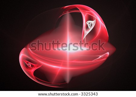 Abstract red element in a form of supernova or flash over black - stock photo