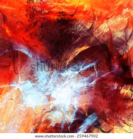 Abstract red hot paint template and smoke. Lava liquid background. Vibrant fiery color pattern for creative design. Bright image for wallpaper desktop, interior, poster, cover flyer. Fractal art - stock photo