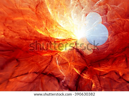 Abstract red hot smoke. Molten lava liquid background. Modern futuristic vibrant fiery pattern. Bright shiny dynamic background. Fractal artwork for creative graphic design - stock photo