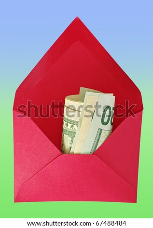Abstract red house-envelope with dollars on the green-blue background. - stock photo