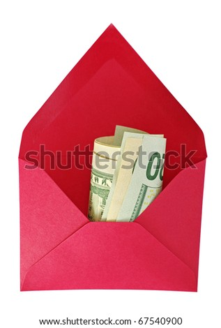 Abstract red house-envelope with dollars on the white background. - stock photo