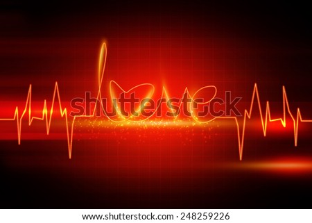 Abstract red Love beat background - stock photo