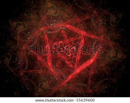 Abstract red ninja arrow on a black background - stock photo