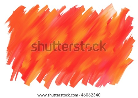 Abstract red orange oil paint smear background. Real media illustration. - stock photo