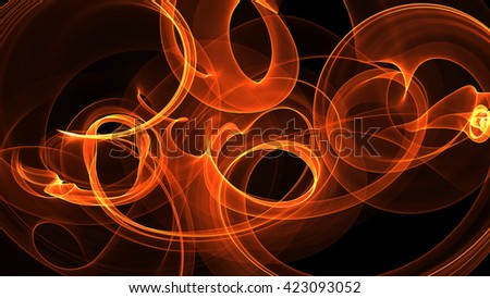 abstract red orange smoke over black background with copyspace - stock photo