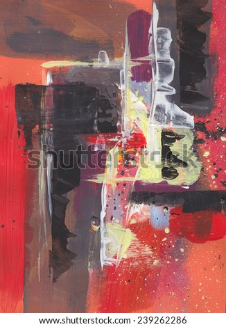 Abstract red painted canvas background - stock photo