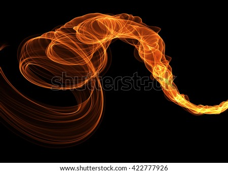 abstract red smoke over black background with copyspace - stock photo