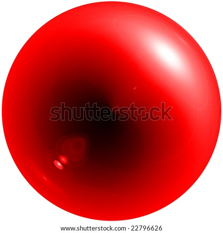 Abstract red sphere with shadow and glare isolated - stock photo