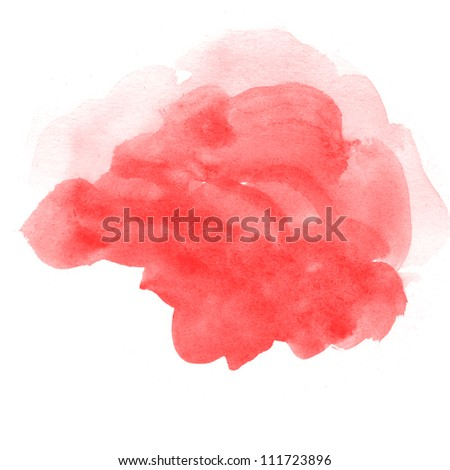 abstract red watercolor on white background - stock photo