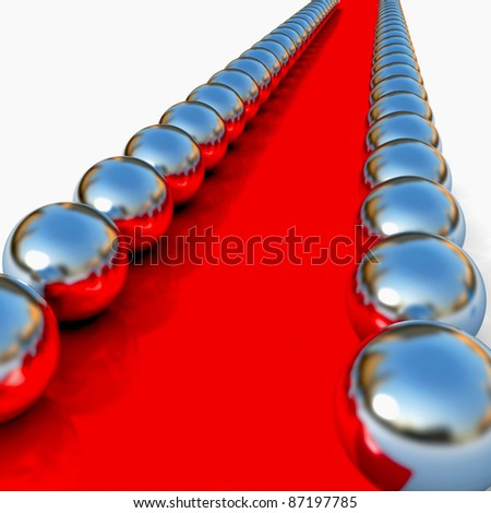 abstract red way with chrome balls around. 3d render - stock photo