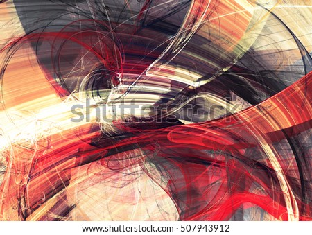 Abstract red, yellow and grey color motion composition. Modern bright futuristic dynamic background for cover booklet, poster, banner. Fractal art for creative graphic design