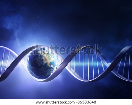 Abstract render of earth inside a glowing DNA strand ( earth uv map from http://visibleearth.nasa.gov ) - stock photo
