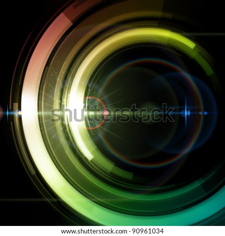 Abstract retro technology circles background. Raster version and effects. - stock photo