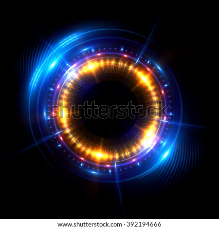 Abstract ring background with luminous swirling backdrop. Glowing spiral. The energy flow tunnel. shine round frame with light circles light effect. glowing cover. Space for your message. Jellyfish - stock photo