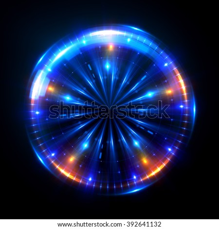 Abstract ring background with luminous swirling backdrop. Glowing spiral. The energy flow tunnel. shine round frame with light circles light effect. glowing cover. Space for your message.  - stock photo