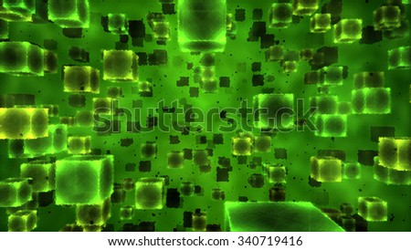 Abstract Rippled Floating Cubes Illustration - Green