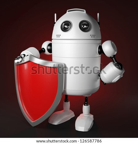 Abstract robot with shield. Data protection concept. - stock photo
