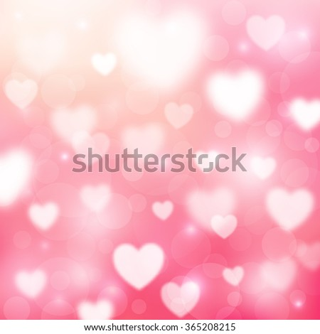 Abstract Romantic Pink Background Hearts Bokeh Stock Illustration ...