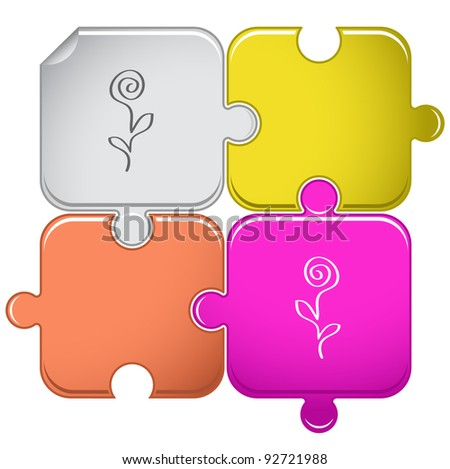 Abstract rose. Raster puzzle. Vector version is in portfolio. - stock photo