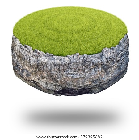 Abstract round rock island covered with green grass isolated on white background. - stock photo