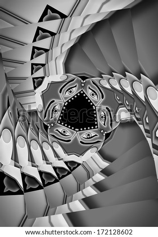 Abstract round stairs with eyes in the middle, flight of stairs or a flight of steps  - stock photo