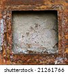 Abstract rusty grunge metal frame background - stock photo