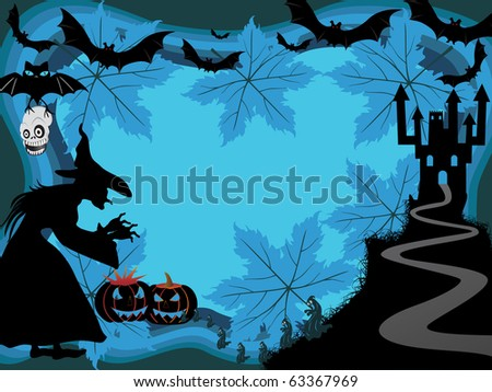 abstract scary halloween background, illustration - stock photo