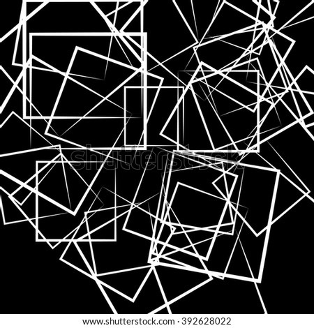 Abstract scattered square, rectangle shapes. Artistic monochrome image