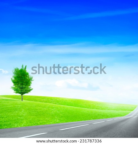 abstract scene country route under blue sky - stock photo