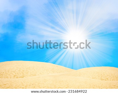 abstract scene desert under year glow sky - stock photo