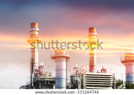 Abstract scene of the power plant factory with the lighting effect.The multi exposure effect of power plant factory with the lighting